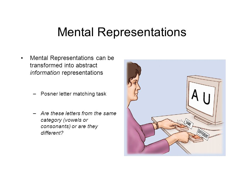 Mental Representations Mental Representations can be transformed into abstract information representations –Posner letter matching task –Are these letters from the same category (vowels or consonants) or are they different