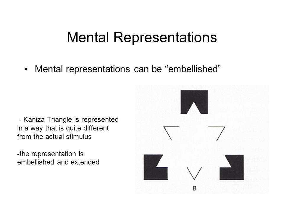 Mental Representations Mental representations can be embellished - Kaniza Triangle is represented in a way that is quite different from the actual stimulus -the representation is embellished and extended