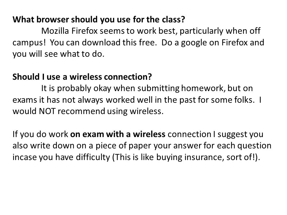 What browser should you use for the class.