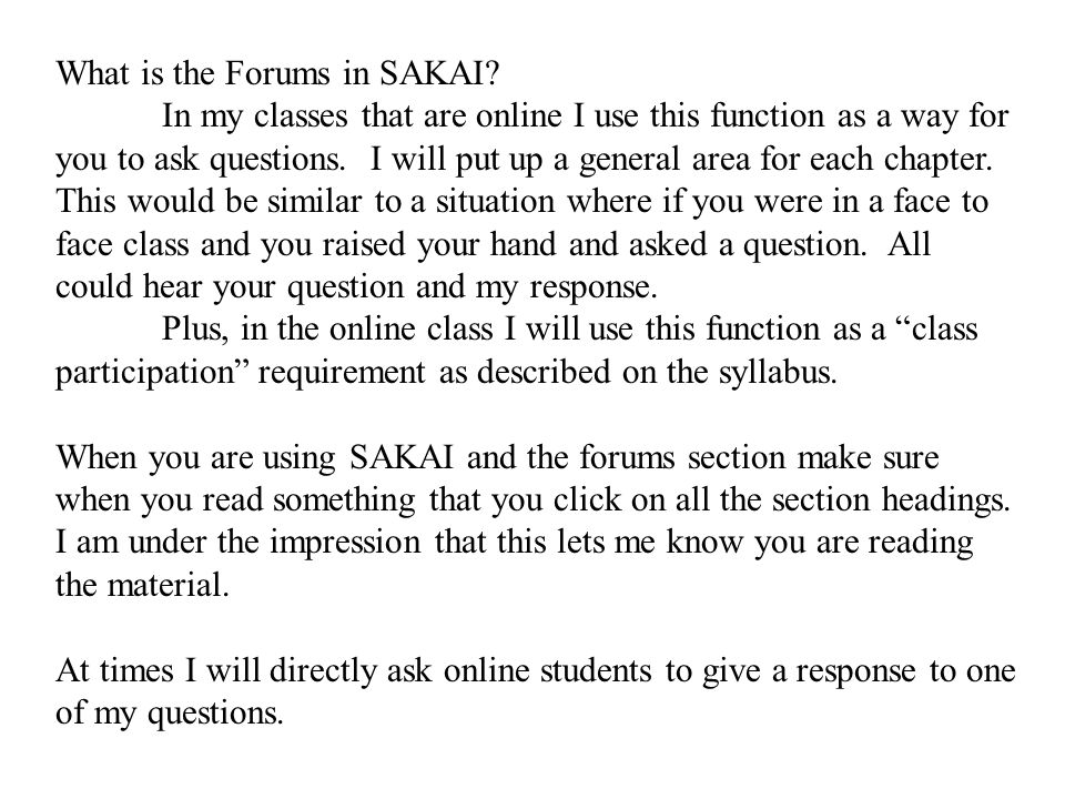 What is the Forums in SAKAI.