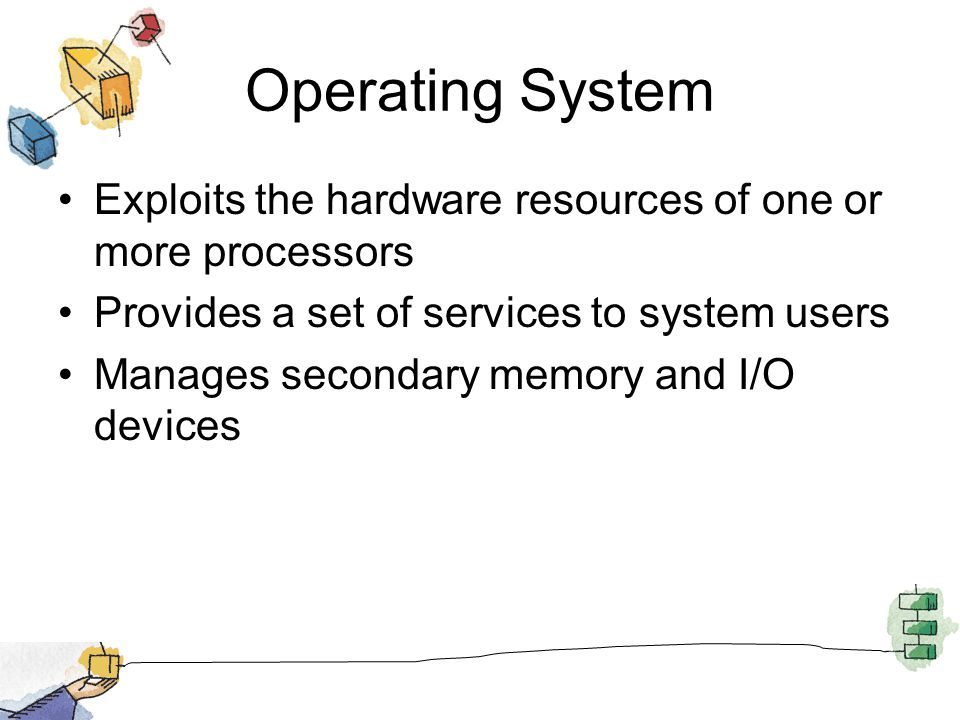 Operating System Exploits the hardware resources of one or more processors Provides a set of services to system users Manages secondary memory and I/O devices
