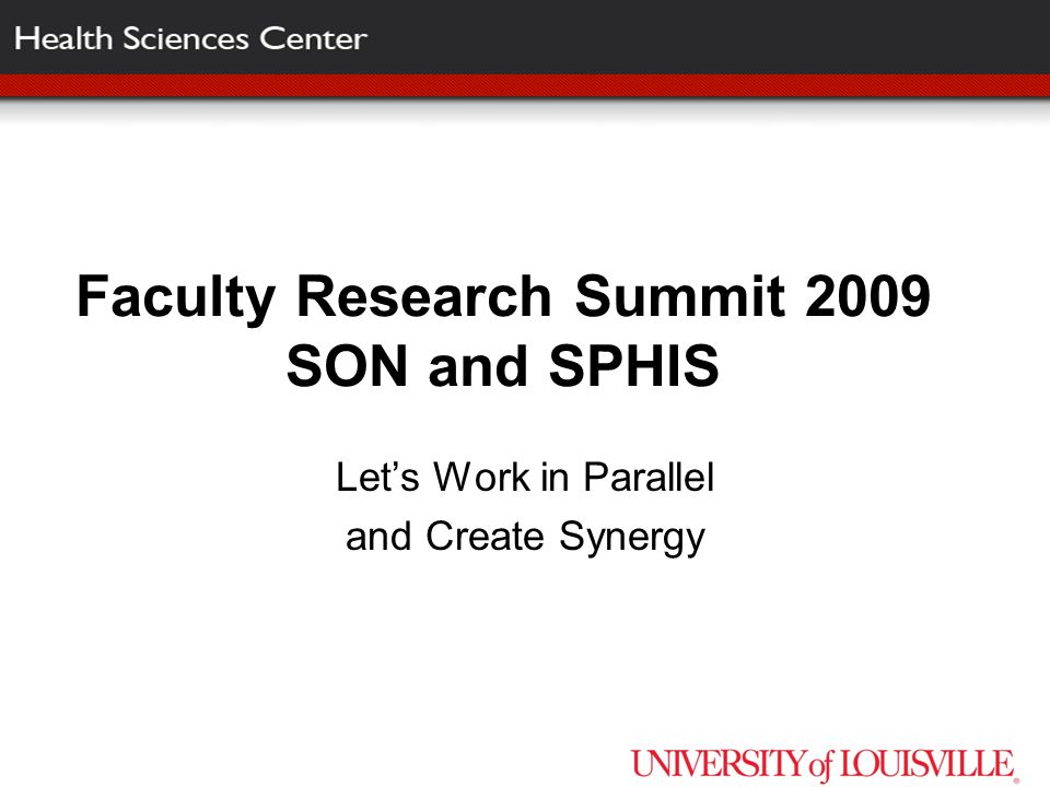Faculty Research Summit 2009 SON and SPHIS Let's Work in Parallel and Create Synergy