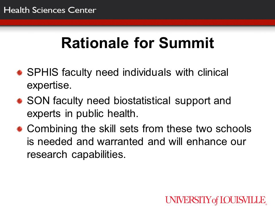 Rationale for Summit SPHIS faculty need individuals with clinical expertise.