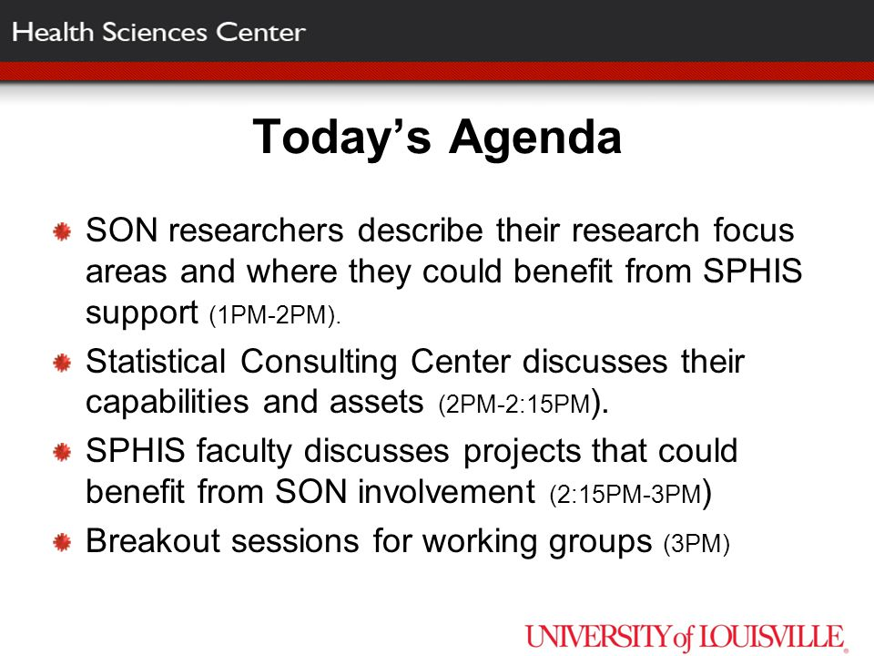 Today's Agenda SON researchers describe their research focus areas and where they could benefit from SPHIS support (1PM-2PM).