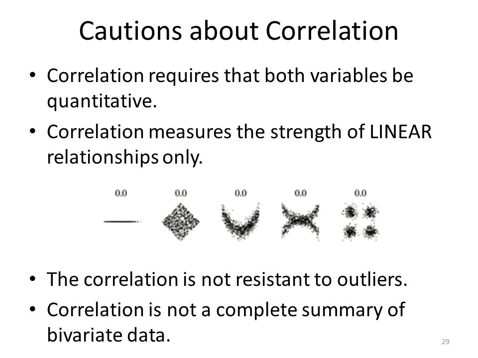 Cautions about Correlation Correlation requires that both variables be quantitative.