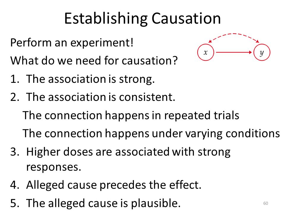 Establishing Causation Perform an experiment. What do we need for causation.