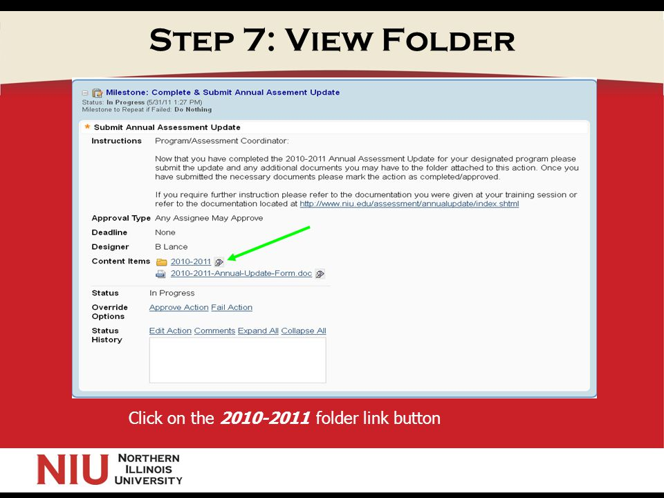 Step 7: View Folder Click on the folder link button