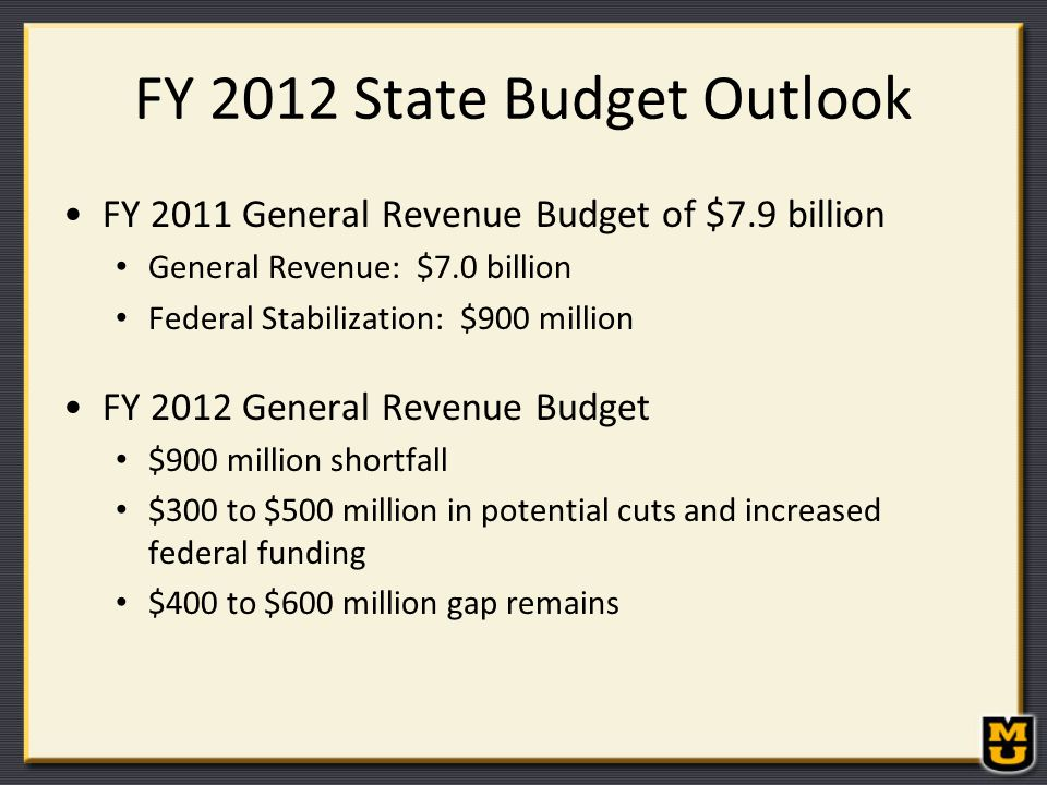 FY 2012 State Budget Outlook FY 2011 General Revenue Budget of $7.9 billion General Revenue: $7.0 billion Federal Stabilization: $900 million FY 2012 General Revenue Budget $900 million shortfall $300 to $500 million in potential cuts and increased federal funding $400 to $600 million gap remains