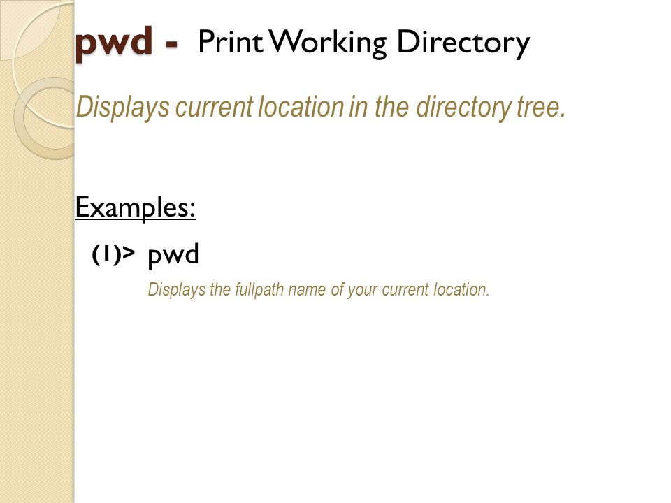 pwd - Print Working Directory Displays current location in the directory tree.
