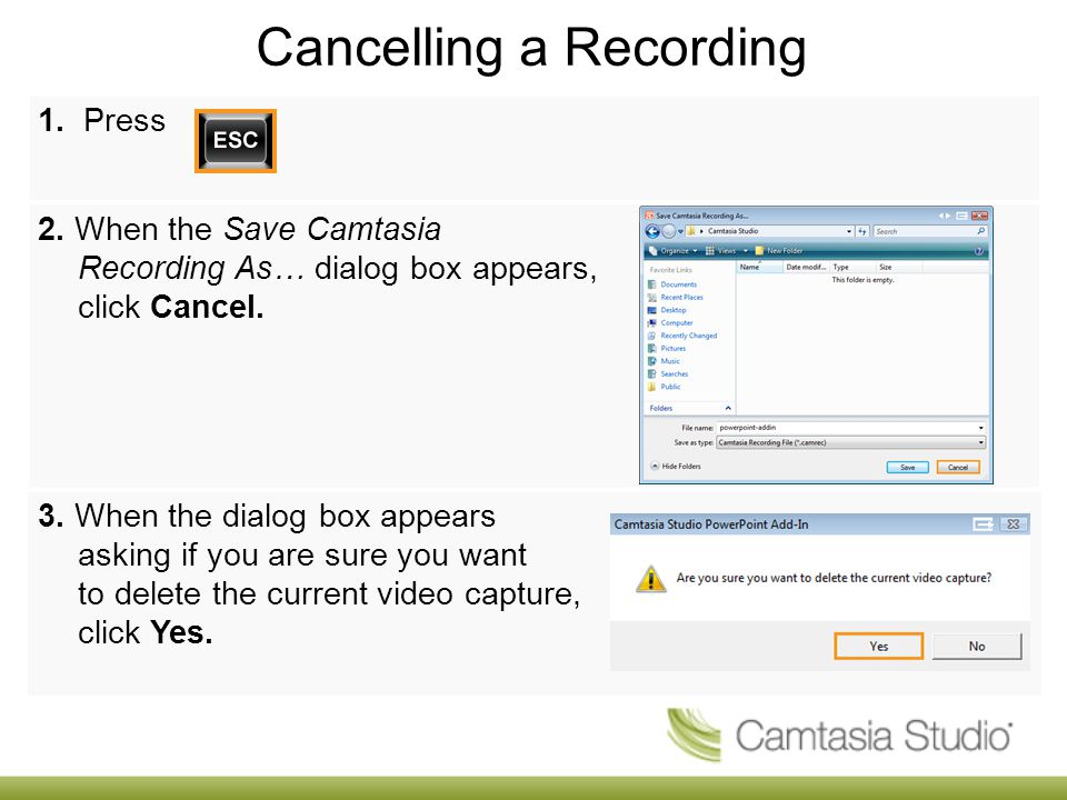 Cancelling a Recording 1. Press 2.