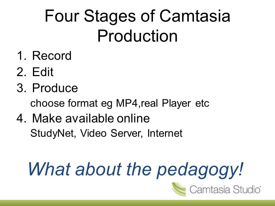 Four Stages of Camtasia Production 1.Record 2.Edit 3.Produce choose format eg MP4,real Player etc 4.Make available online StudyNet, Video Server, Internet What about the pedagogy!