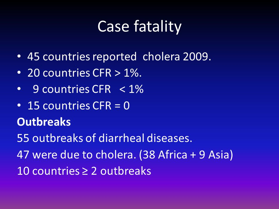 Case fatality 45 countries reported cholera countries CFR > 1%.