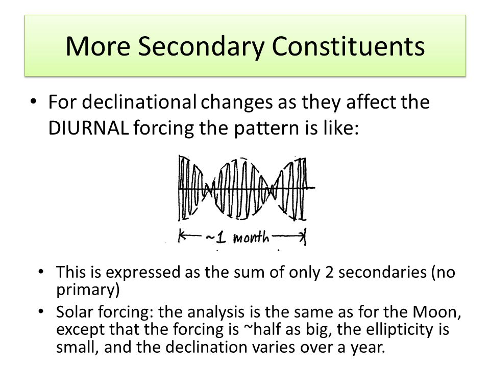 More Secondary Constituents For declinational changes as they affect the DIURNAL forcing the pattern is like: This is expressed as the sum of only 2 secondaries (no primary) Solar forcing: the analysis is the same as for the Moon, except that the forcing is ~half as big, the ellipticity is small, and the declination varies over a year.