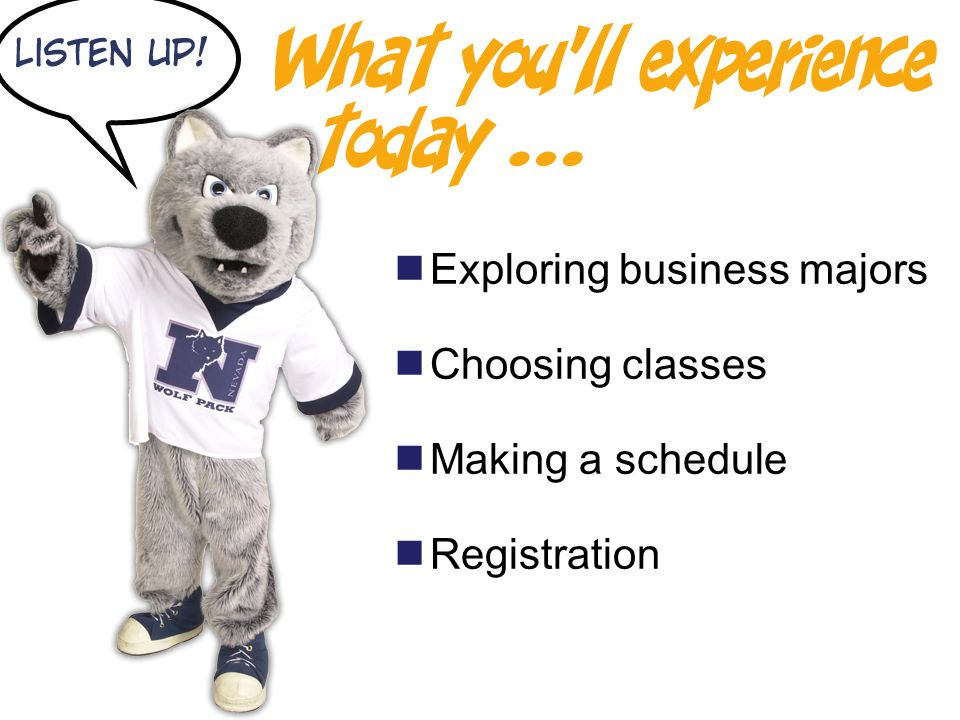  Exploring business majors  Choosing classes  Making a schedule  Registration