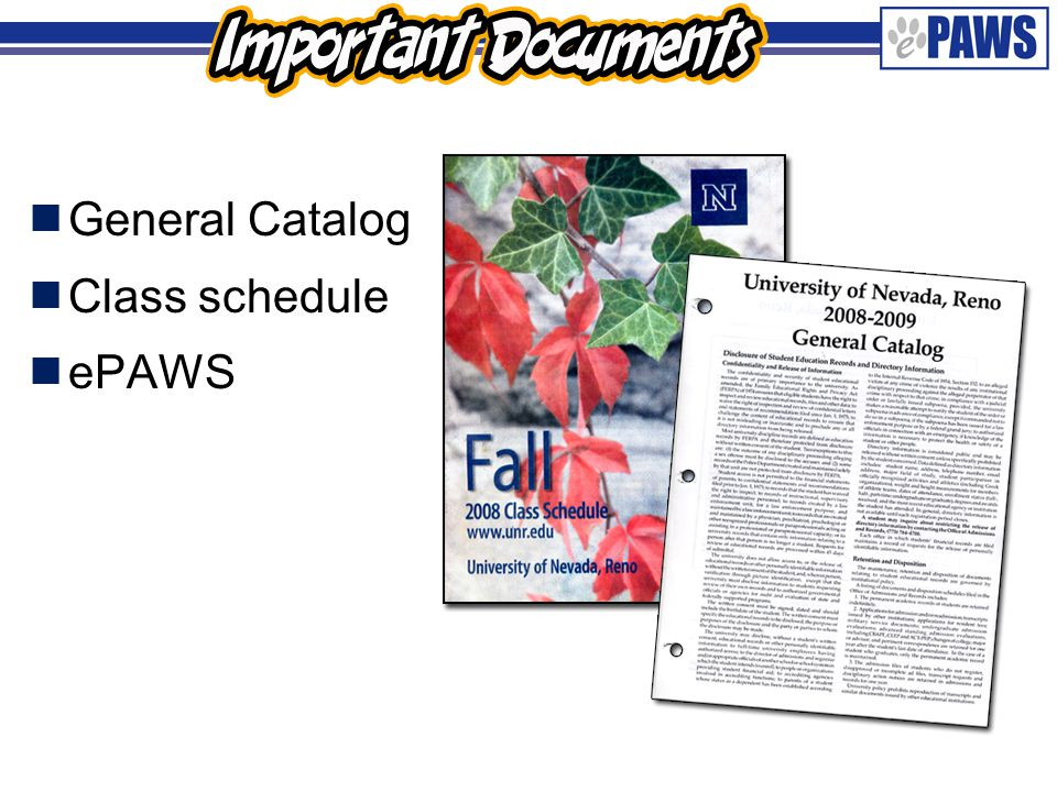  General Catalog  Class schedule  ePAWS