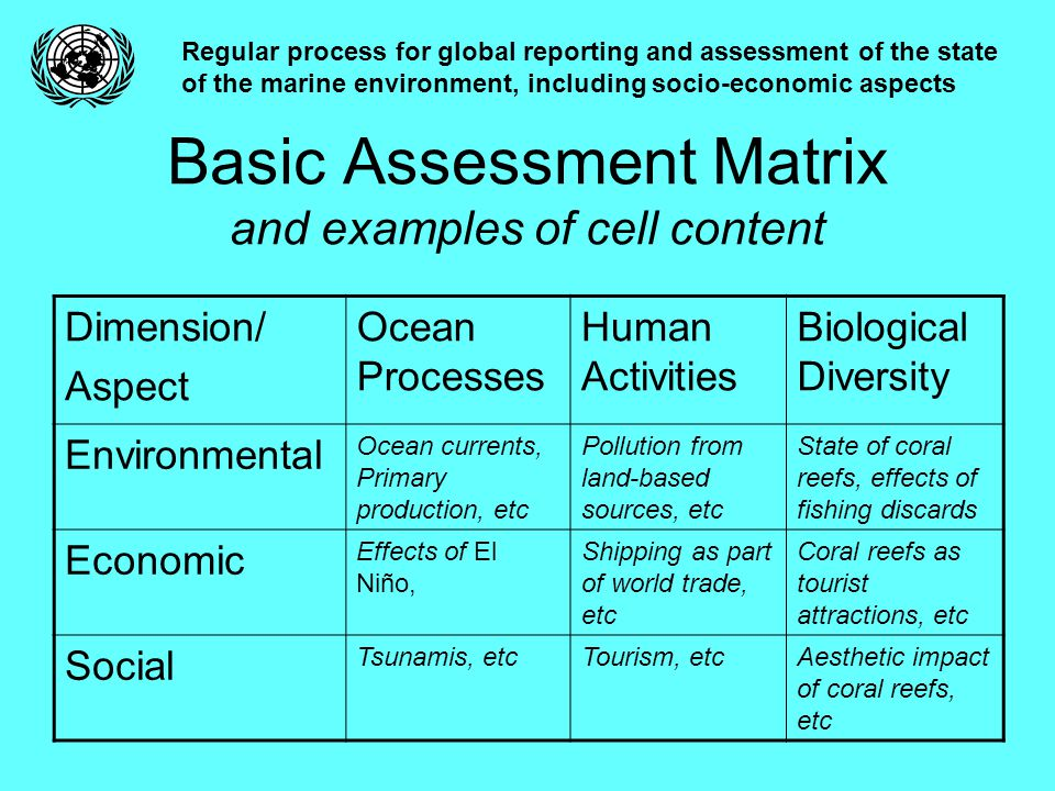Basic Assessment Matrix and examples of cell content Regular process for global reporting and assessment of the state of the marine environment, including socio-economic aspects Dimension/ Aspect Ocean Processes Human Activities Biological Diversity Environmental Ocean currents, Primary production, etc Pollution from land-based sources, etc State of coral reefs, effects of fishing discards Economic Effects of El Niño, Shipping as part of world trade, etc Coral reefs as tourist attractions, etc Social Tsunamis, etcTourism, etcAesthetic impact of coral reefs, etc