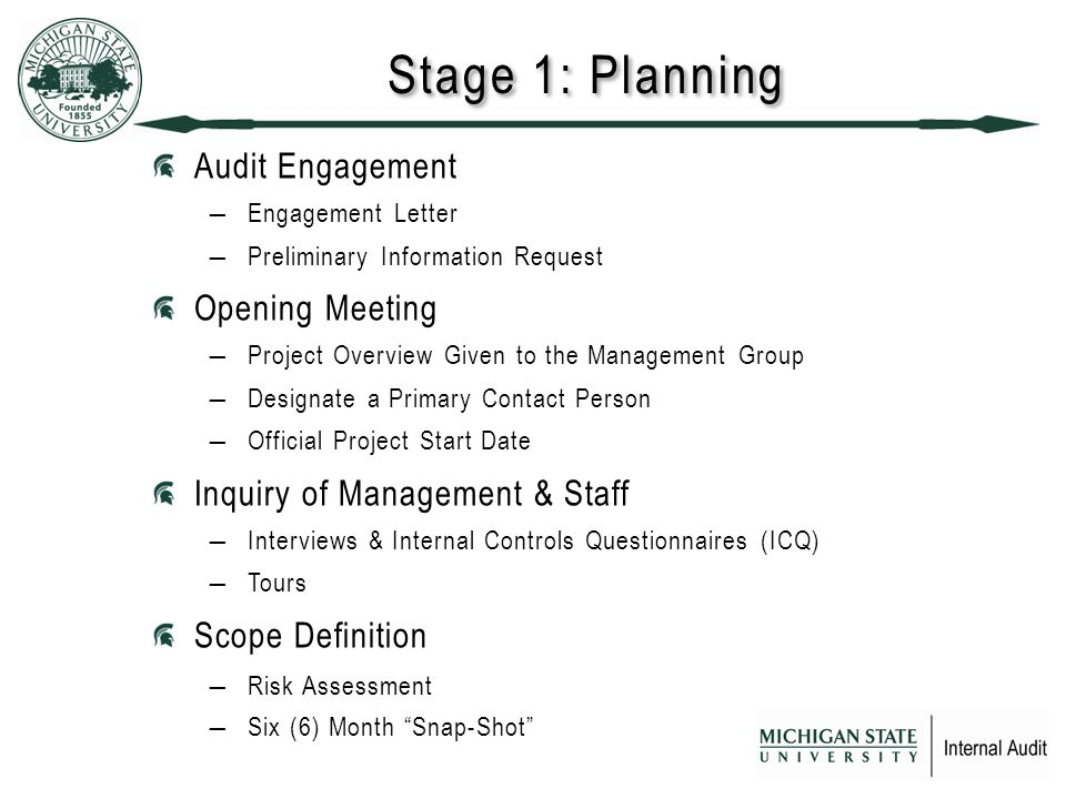 Stage 1: Planning Audit Engagement ―Engagement Letter ―Preliminary Information Request Opening Meeting ―Project Overview Given to the Management Group ―Designate a Primary Contact Person ―Official Project Start Date Inquiry of Management & Staff ―Interviews & Internal Controls Questionnaires (ICQ) ―Tours Scope Definition ―Risk Assessment ―Six (6) Month Snap-Shot