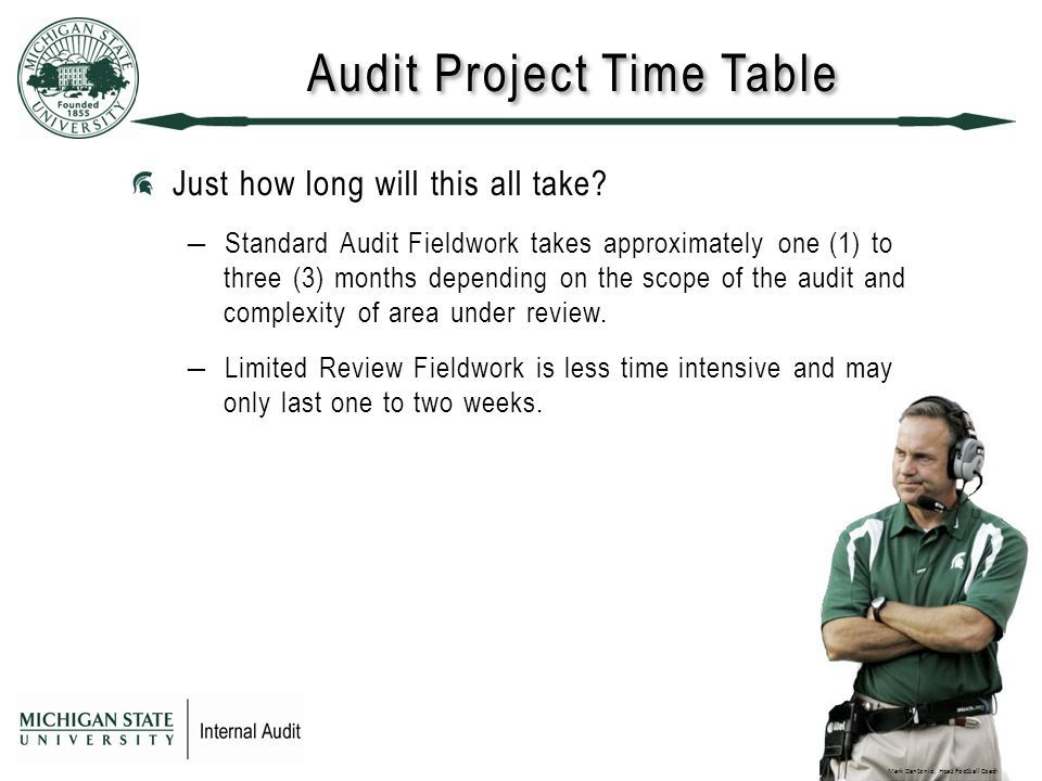 Audit Project Time Table Just how long will this all take.
