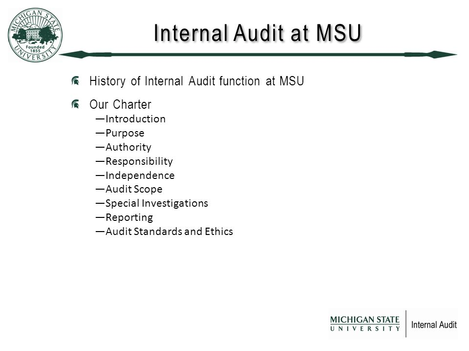 Internal Audit at MSU History of Internal Audit function at MSU Our Charter ―Introduction ―Purpose ―Authority ―Responsibility ―Independence ―Audit Scope ―Special Investigations ―Reporting ―Audit Standards and Ethics