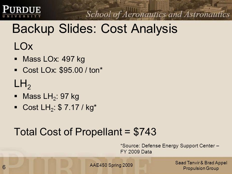 AAE450 Spring 2009 Backup Slides: Cost Analysis LOx  Mass LOx: 497 kg  Cost LOx: $95.00 / ton* LH 2  Mass LH 2 : 97 kg  Cost LH 2 : $ 7.17 / kg* Total Cost of Propellant = $743 Saad Tanvir & Brad Appel Propulsion Group *Source: Defense Energy Support Center – FY 2009 Data 6