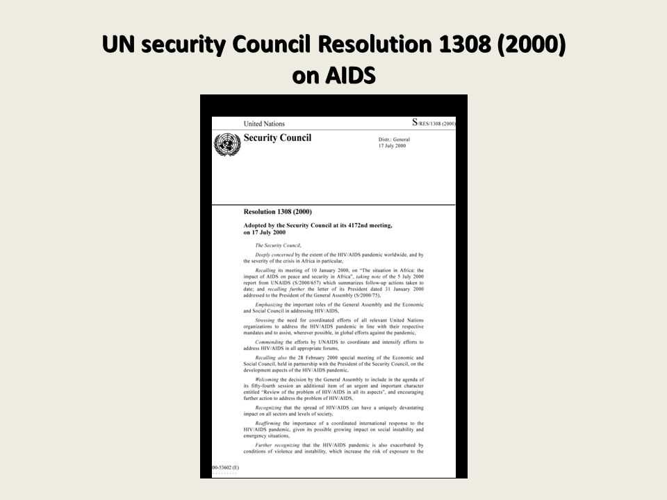 UN security Council Resolution 1308 (2000) on AIDS