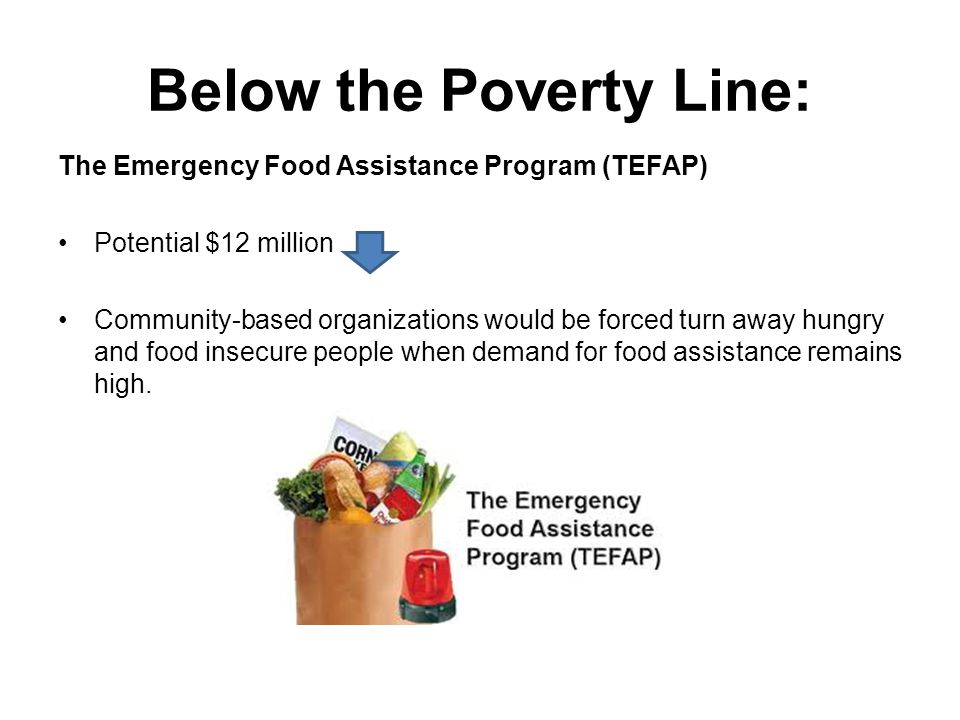 Below the Poverty Line: The Emergency Food Assistance Program (TEFAP) Potential $12 million Community-based organizations would be forced turn away hungry and food insecure people when demand for food assistance remains high.