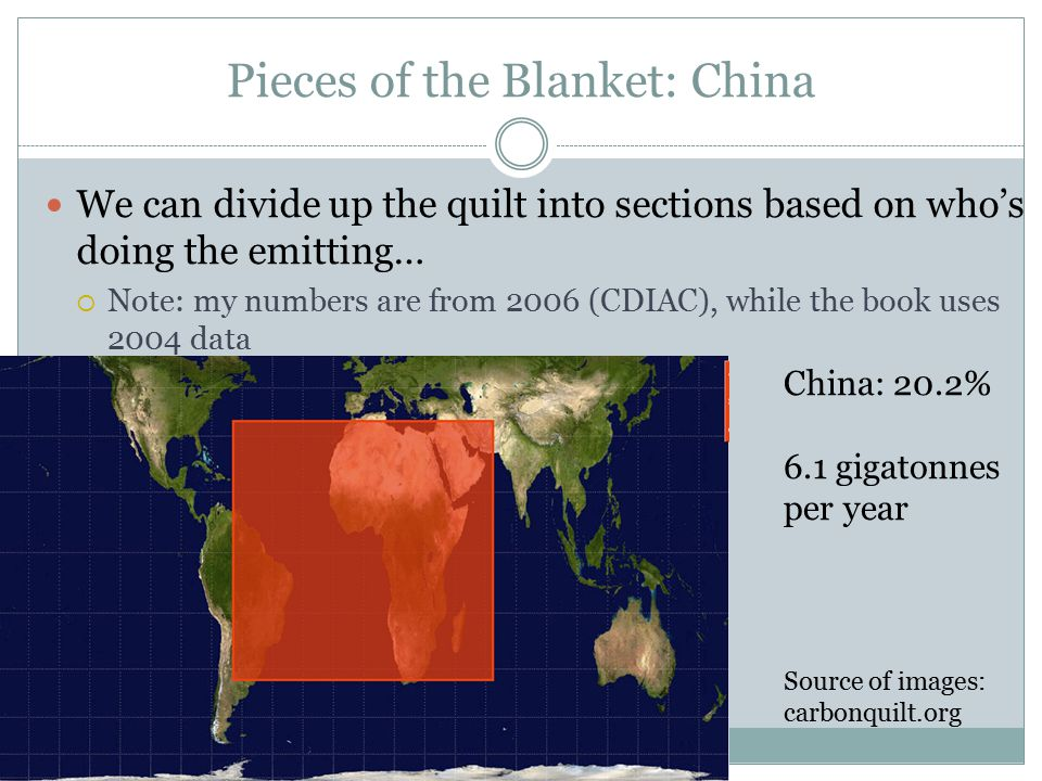 Pieces of the Blanket: China We can divide up the quilt into sections based on who's doing the emitting…  Note: my numbers are from 2006 (CDIAC), while the book uses 2004 data China: 20.2% 6.1 gigatonnes per year Source of images: carbonquilt.org