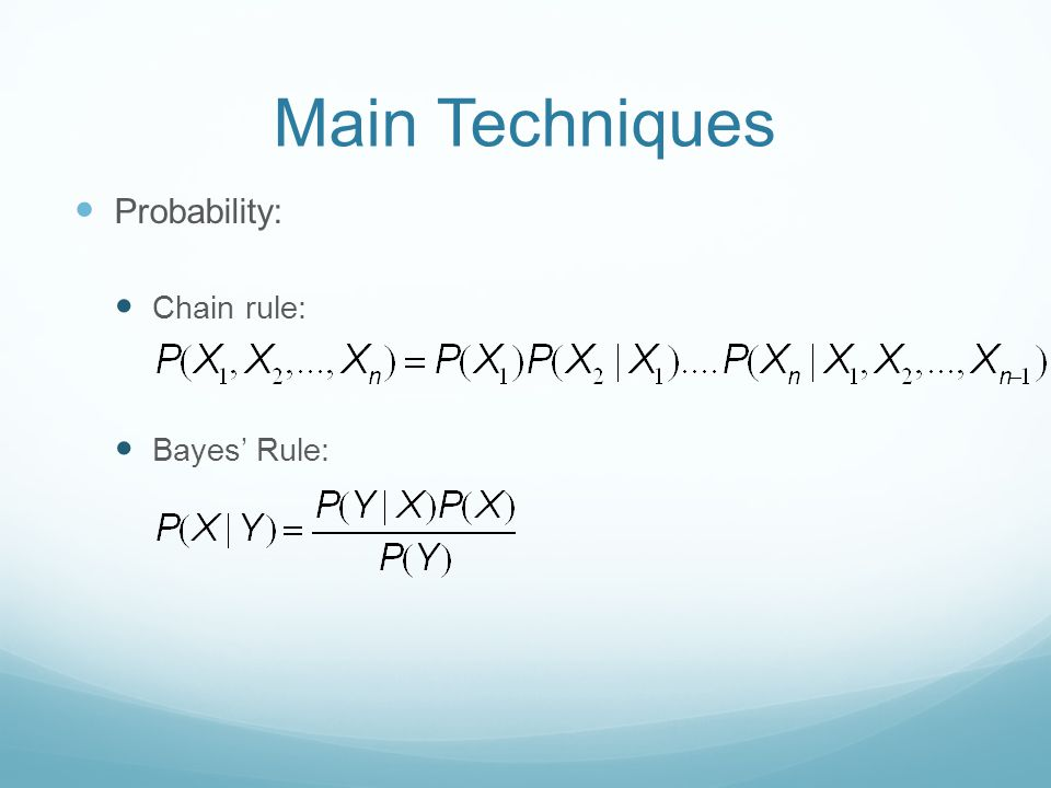Main Techniques Probability: Chain rule: Bayes' Rule:
