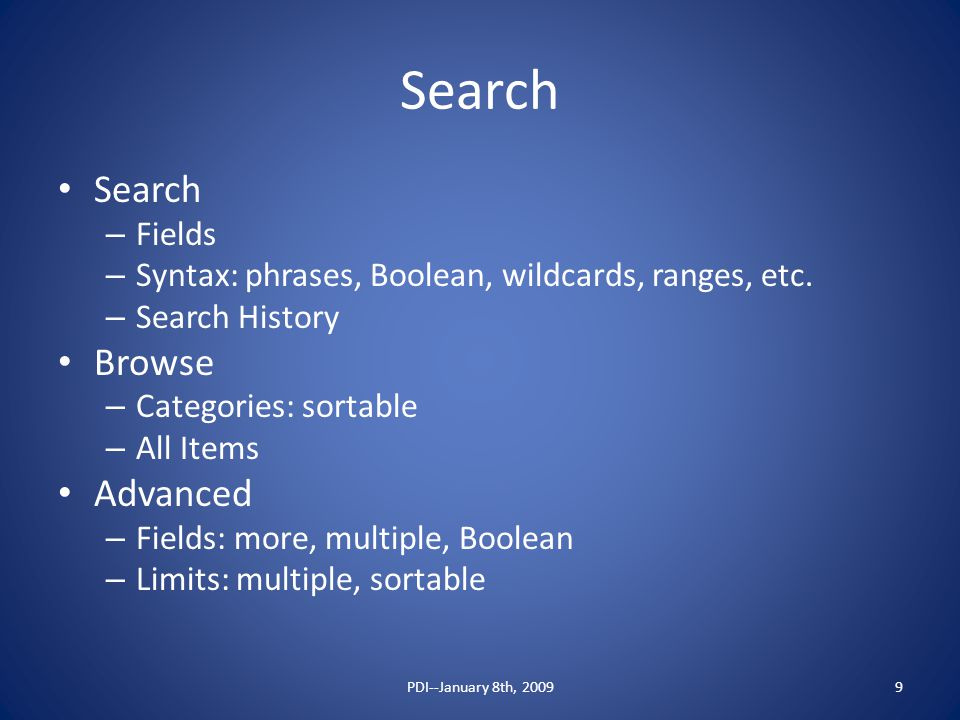 Search – Fields – Syntax: phrases, Boolean, wildcards, ranges, etc.