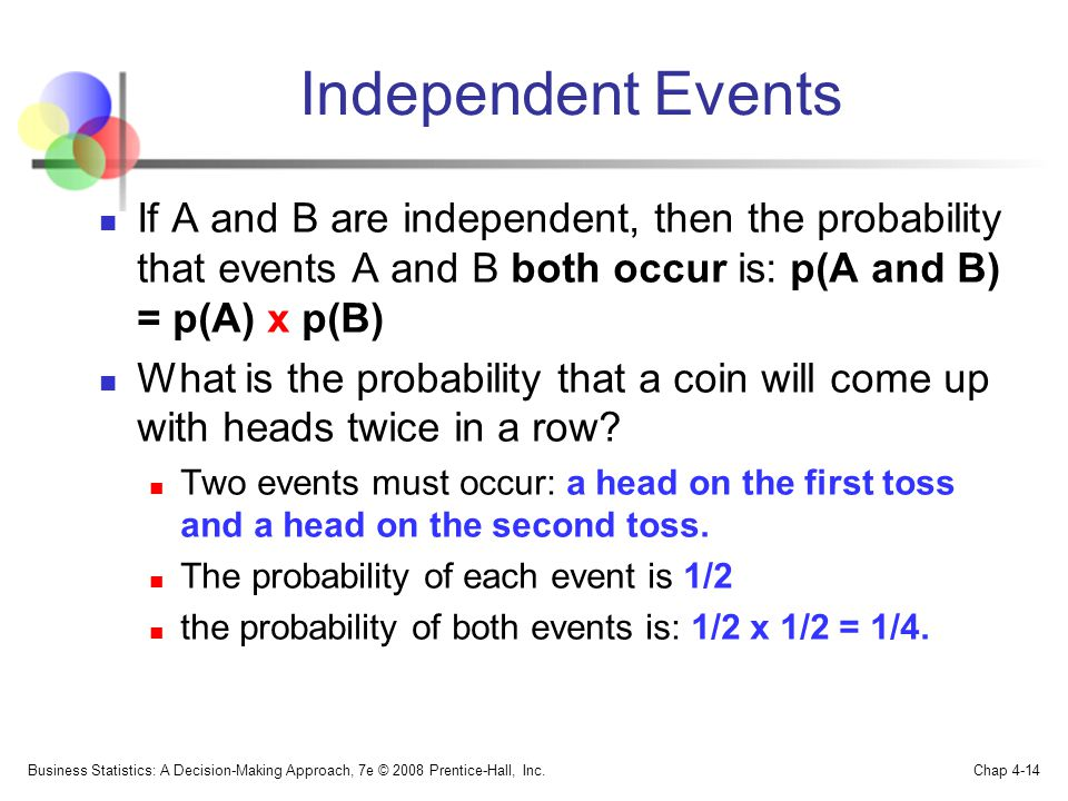 Independent Events If A and B are independent, then the probability that events A and B both occur is: p(A and B) = p(A) x p(B) What is the probability that a coin will come up with heads twice in a row.