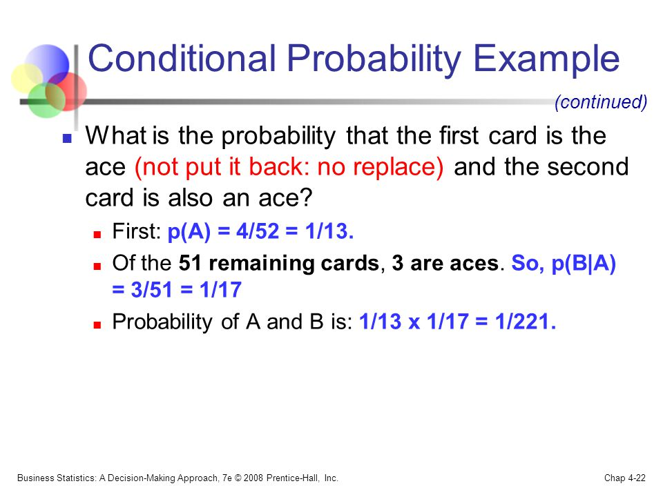 Conditional Probability Example What is the probability that the first card is the ace (not put it back: no replace) and the second card is also an ace.