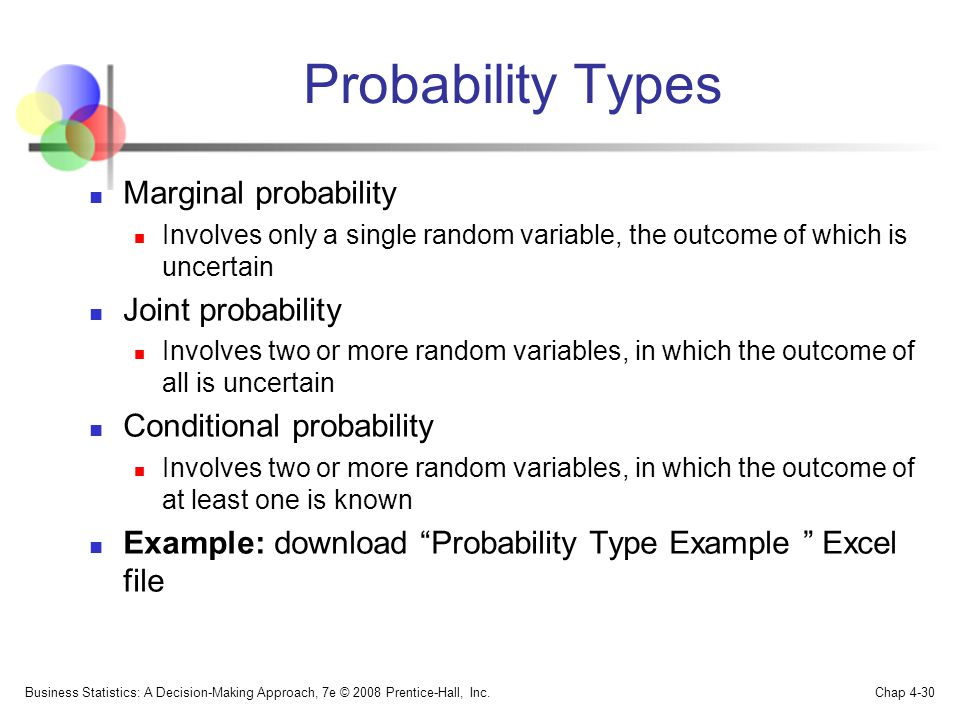Probability Types Marginal probability Involves only a single random variable, the outcome of which is uncertain Joint probability Involves two or more random variables, in which the outcome of all is uncertain Conditional probability Involves two or more random variables, in which the outcome of at least one is known Example: download Probability Type Example Excel file Business Statistics: A Decision-Making Approach, 7e © 2008 Prentice-Hall, Inc.
