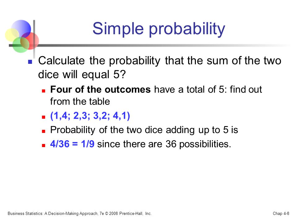 Simple probability Calculate the probability that the sum of the two dice will equal 5.