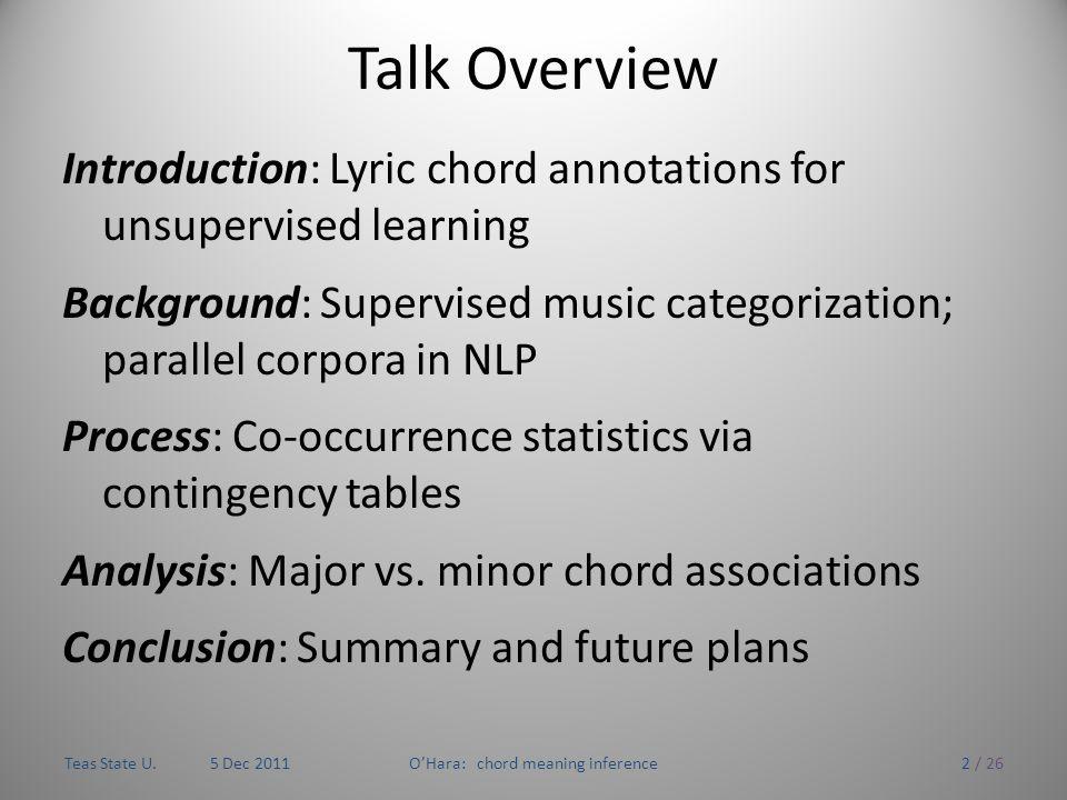 Inferring the meaning of chord sequences via lyrics Tom O'Hara CS ...