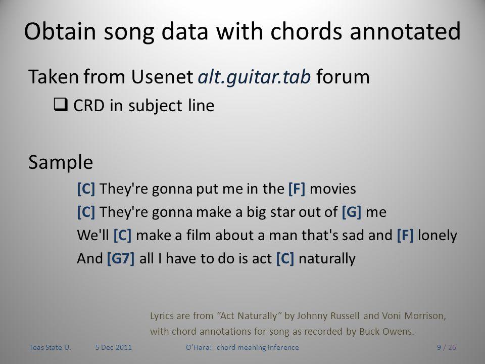Inferring The Meaning Of Chord Sequences Via Lyrics Tom Ohara Cs