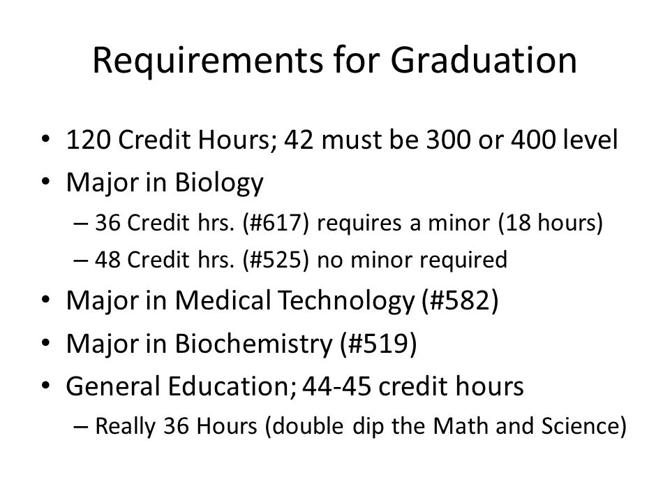 Requirements for Graduation 120 Credit Hours; 42 must be 300 or 400 level Major in Biology – 36 Credit hrs.