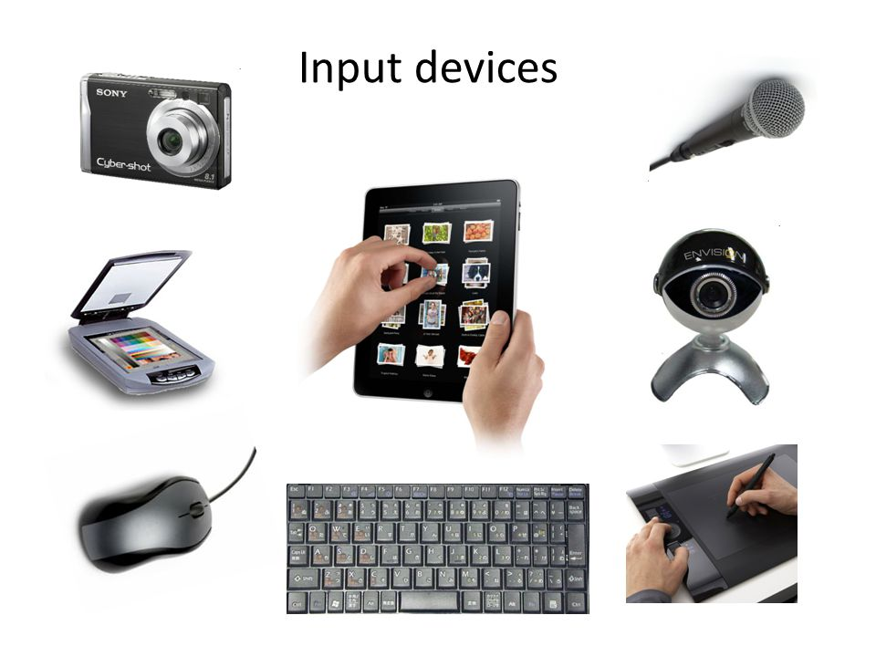 input and output devices If a device is putting data into the computer in the form of text, sound, images, button presses etc then it is an input device, if the device is outputting things from the computer such as sound, movement, printing, images etc, then it is an output device.