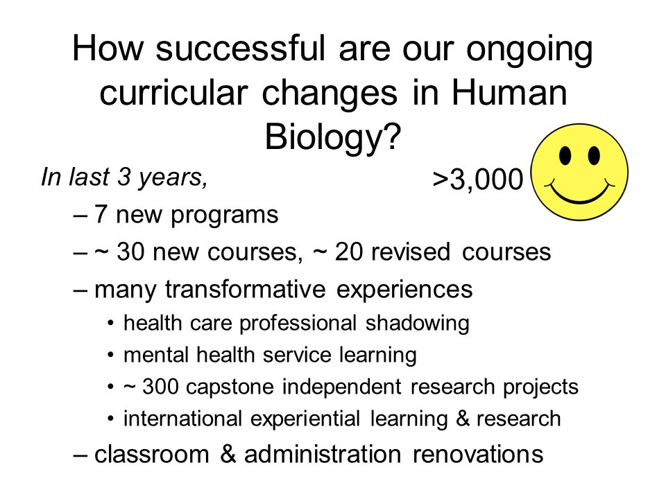 How successful are our ongoing curricular changes in Human Biology.