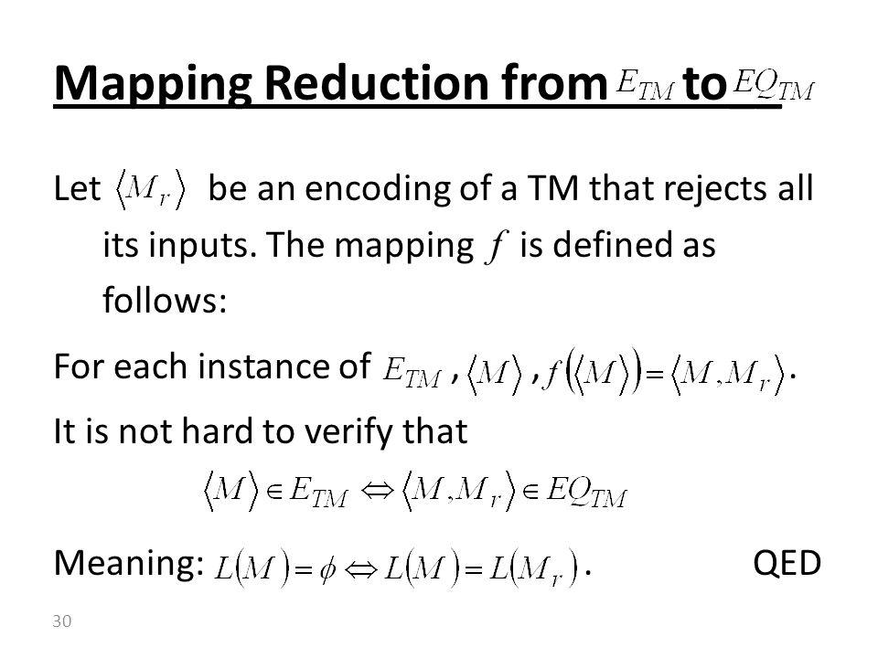 Let be an encoding of a TM that rejects all its inputs.