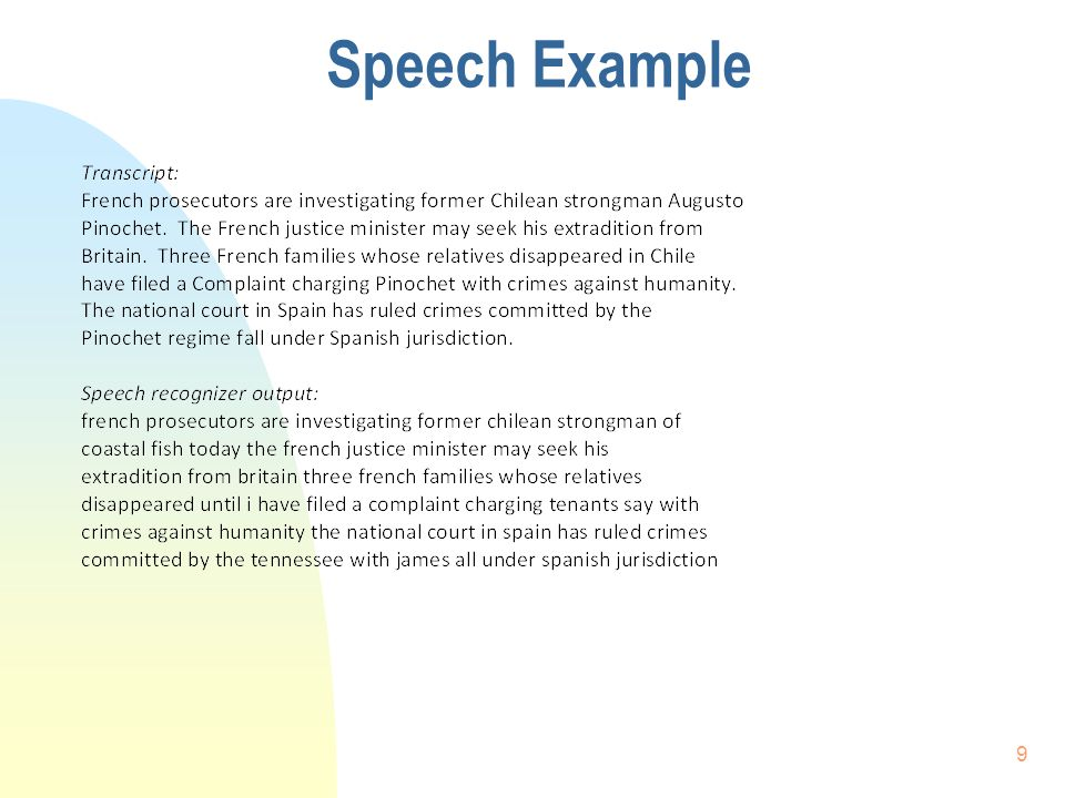 Speech Example 9