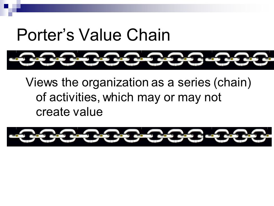 Porter's Value Chain Views the organization as a series (chain) of activities, which may or may not create value
