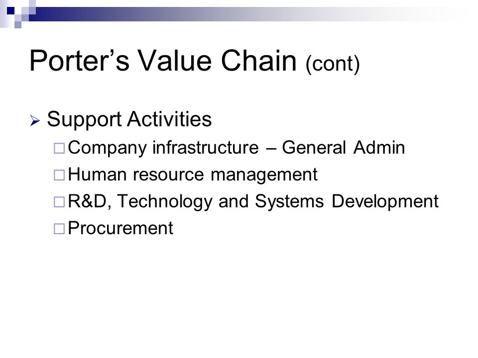 Porter's Value Chain (cont)  Support Activities  Company infrastructure – General Admin  Human resource management  R&D, Technology and Systems Development  Procurement