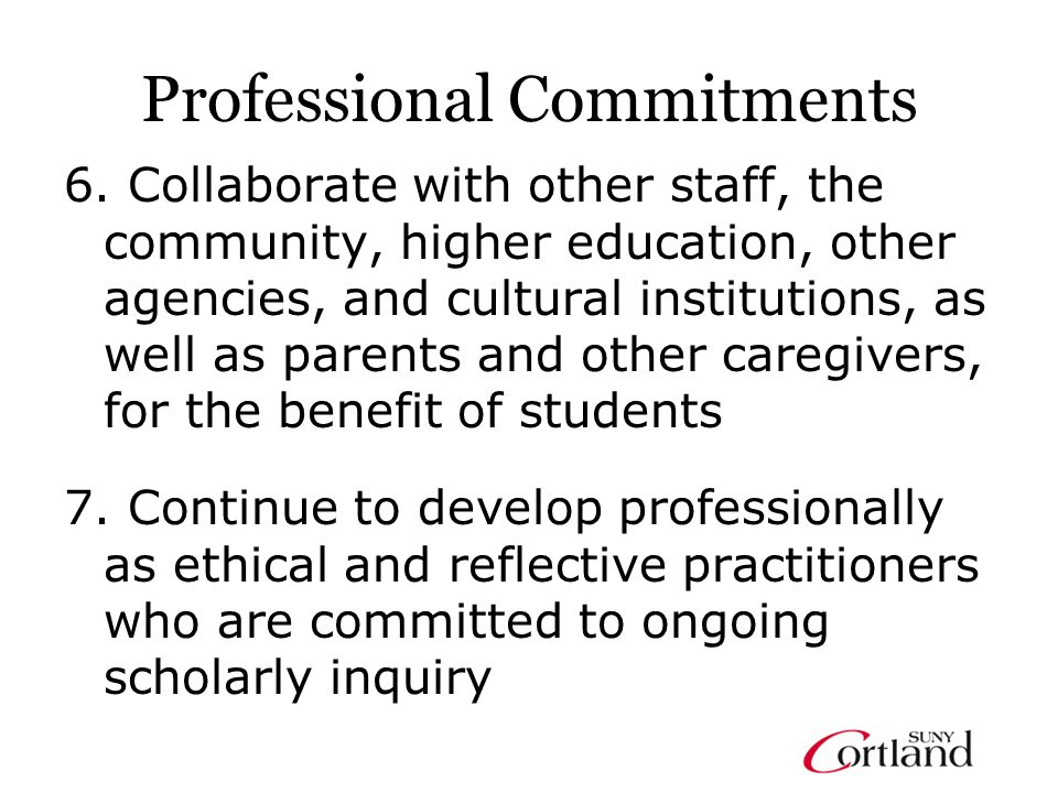 Professional Commitments 6.