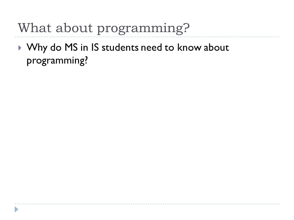 What about programming  Why do MS in IS students need to know about programming