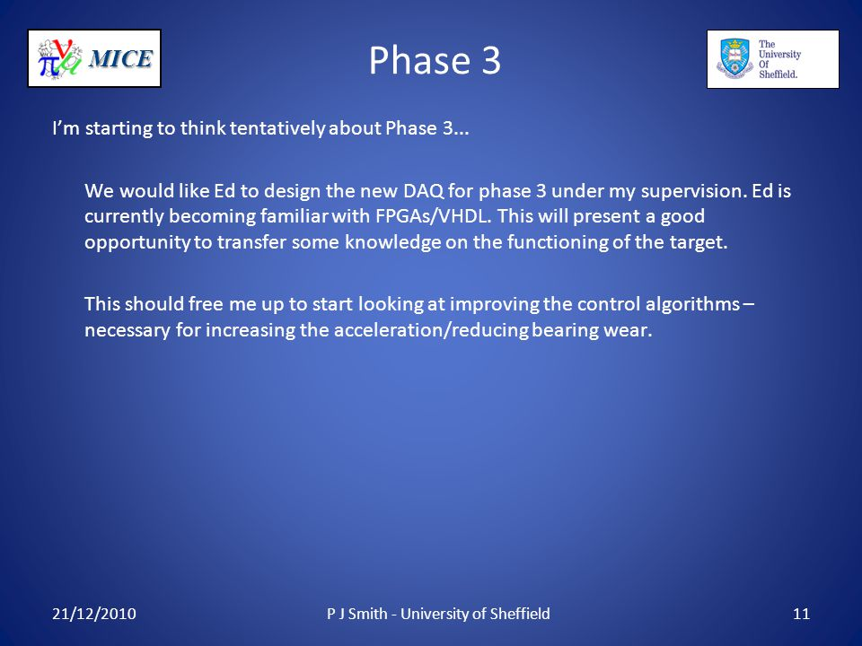 MICE Phase 3 I'm starting to think tentatively about Phase 3...