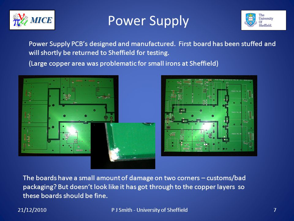 MICE Power Supply Power Supply PCB's designed and manufactured.