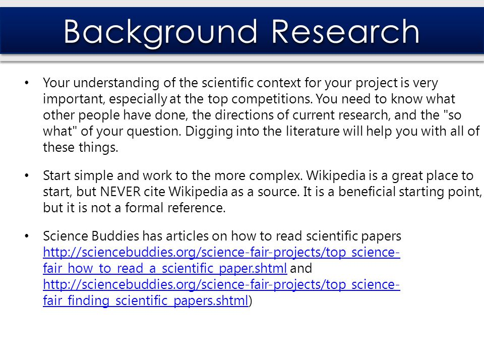 science buddies research paper