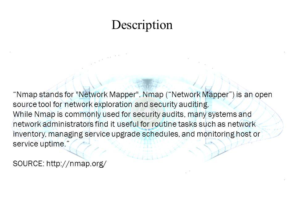 """Description """"Nmap stands for"""