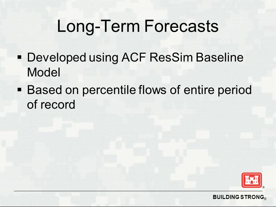 BUILDING STRONG ® Long-Term Forecasts  Developed using ACF ResSim Baseline Model  Based on percentile flows of entire period of record