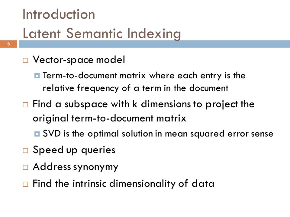 Dimensionality reduction by random projection and latent semantic 3 introduction latent semantic indexing vector space publicscrutiny Image collections